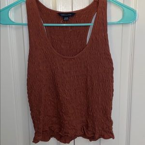 american eagle red ribbed tank top